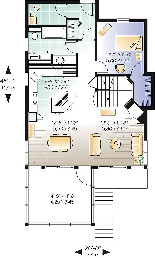 -------------------------------------- Main level floor plan of a 3-bedroom two-story The Cliffside 4 country home with living room, dining area, kitchen, full bath, and a guest room.