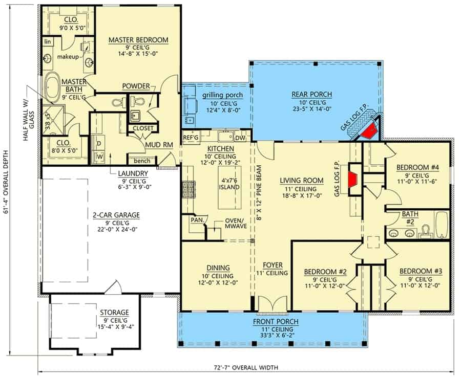 Main level floor plan of a 4-bedroom single-story modern farmhouse with front and rear porches, foyer, formal dining room, kitchen, living room, four bedrooms, laundry room, and a double garage with large storage space.