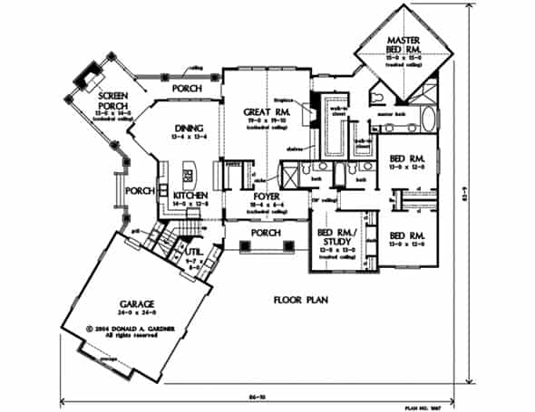 Main level floor plan of a 4-bedroom single-story The Rockingham stone ranch with front, rear, and screened porches, foyer, great room, dining area, kitchen, utility room, four bedrooms, and an angled garage.