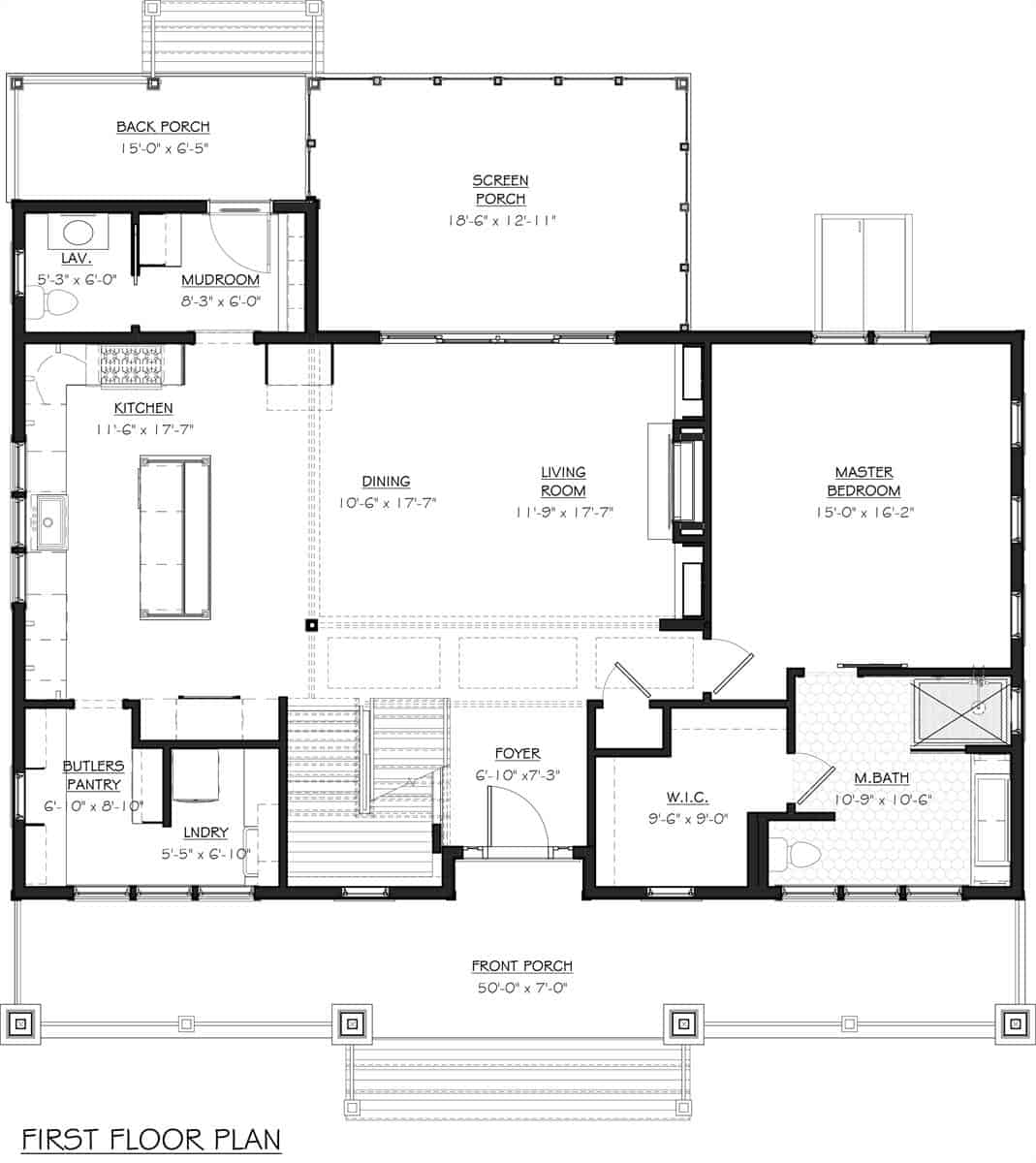 Main level floor plan of a 4-bedroom two-story craftsman style The 2018 Idea home with foyer, living room, dining room, kitchen, butler's pantry, primary suite, and lots of outdoor spaces.