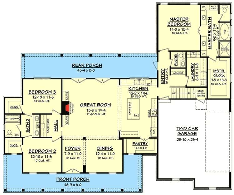 Main level floor plan of a 4-bedroom two-story farmhouse with front and rear porches, formal dining room, great room, kitchen, and three bedrooms.