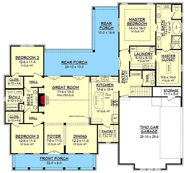 Main level floor plan of a 4-bedroom two-story mid-size modern farmhouse with front and rear porches, foyer, formal dining room, great room, kitchen, laundry room, three bedrooms, and a double garage with storage space.
