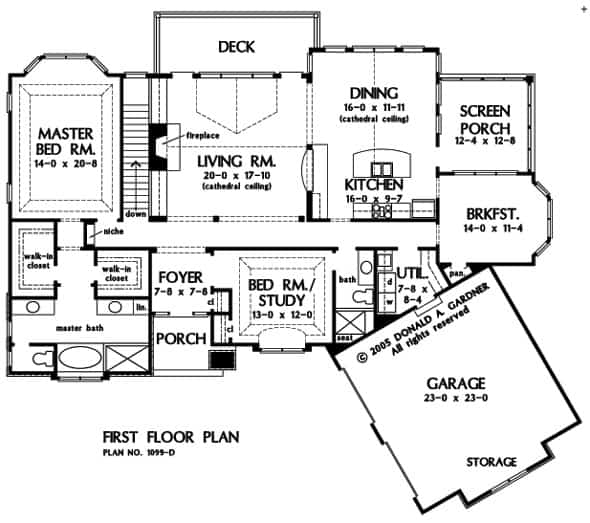 Main level floor plan of a 4-bedroom two-story The Touchstone European home with front, rear, and screened porches, foyer, living room, dining area, kitchen with breakfast nook, utility room, and two bedrooms including the primary suite and a flexible study.