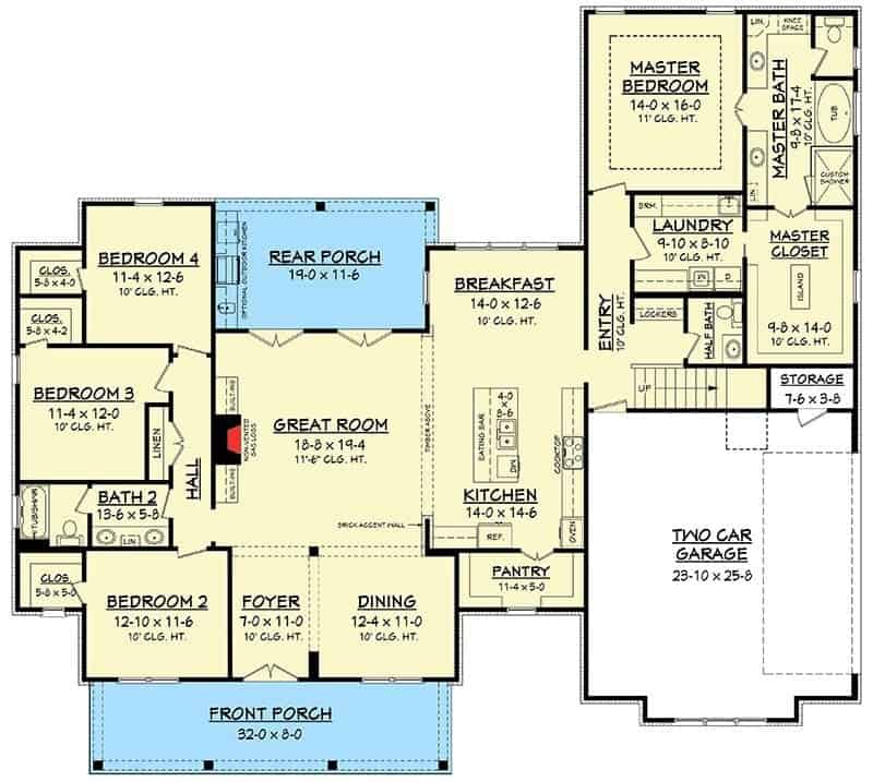 Main level floor plan of a 5-bedroom two-story modern farmhouse with front and rear porches, formal dining room, great room, kitchen with breakfast nook, laundry room, two-car garage, and four bedrooms.