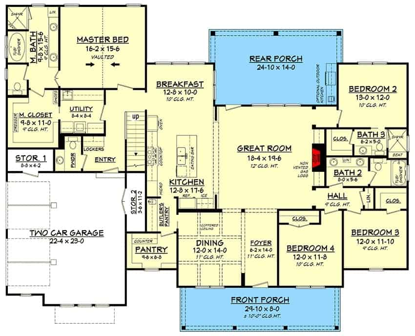 Main level floor plan of a 5-bedroom two-story modern farmhouse with front and rear porches, foyer, formal dining room, great room, kitchen with breakfast nook, four bedrooms, utility room, and a mudroom that opens to the double garage.
