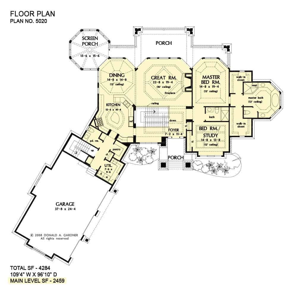 Main level floor plan of a 5-bedroom two-story The Jasper Hill mountain home with angled garage, foyer, great room, dining room, kitchen, two bedrooms, and sprawling porches.