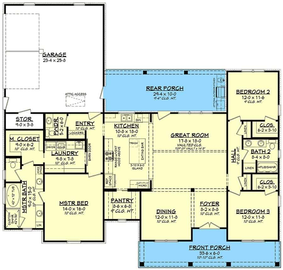 Main level floor plan of a single-story 3-bedroom country craftsman with front and rear porches, foyer, formal dining room, great room, kitchen, three bedrooms, laundry room, and a double garage.