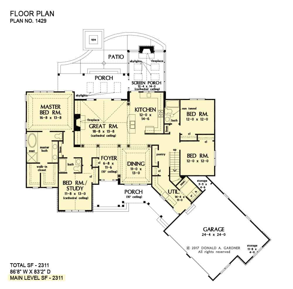Main level floor plan of a single-story 4-bedroom The Atticus craftsman home with an angled garage, foyer, great room, kitchen, dining area, four bedrooms, and lots of outdoor spaces.