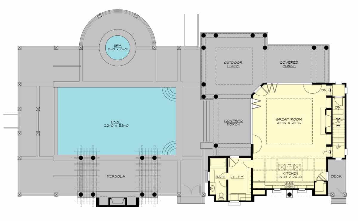 Main level floor plan of a 3-bedroom two-story contemporary style Etna home with great room, kitchen, utility, bathroom, and plenty of outdoor spaces.