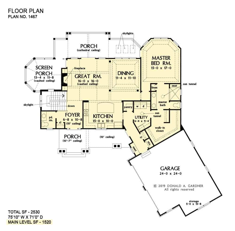Main level floor plan of a two-story 3-bedroom craftsman style The Wesley home with an angled garage, foyer, great room, kitchen, dining area, utility room, primary suite, and lots of outdoor spaces.