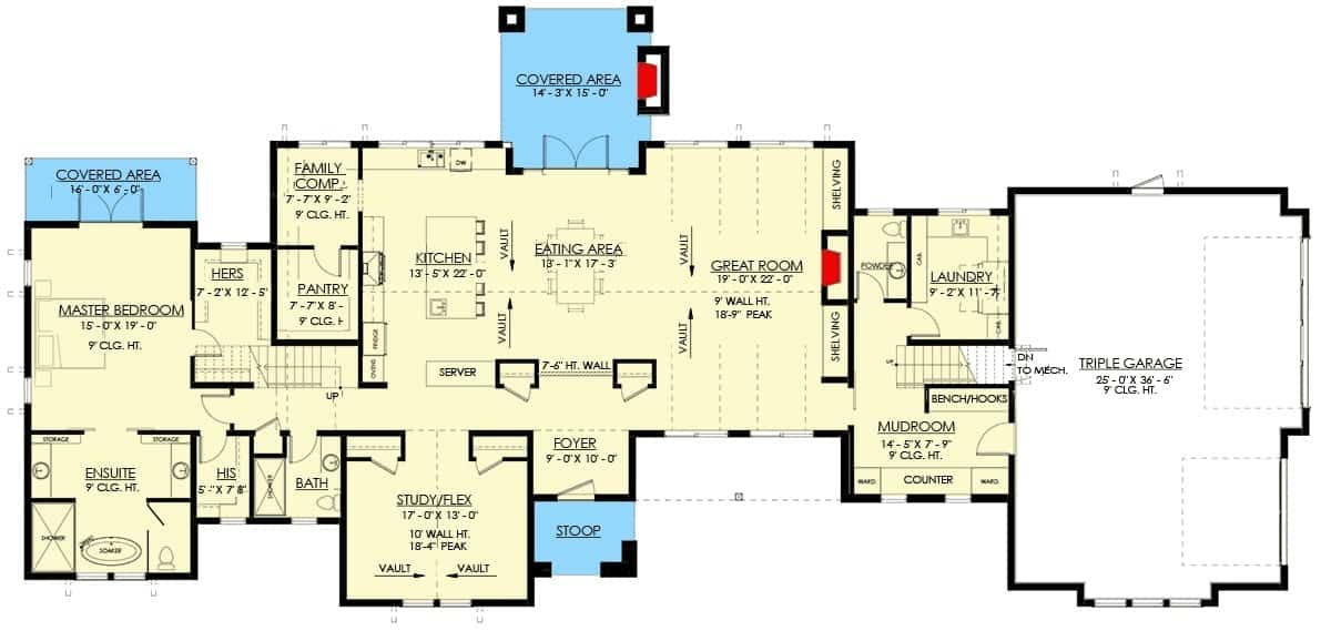 Main level floor plan of a two-story 3-bedroom modern farmhouse with triple garage, foyer, great room, kitchen, dining area, study, primary suite, and laundry room.