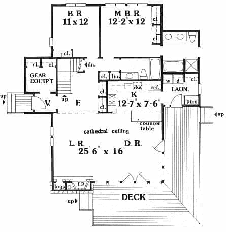Main level floor plan of a two-story 3-bedroom IRIS beach home with wraparound deck, foyer, living room, dining area, kitchen, laundry room, and two bedrooms including the primary suite.