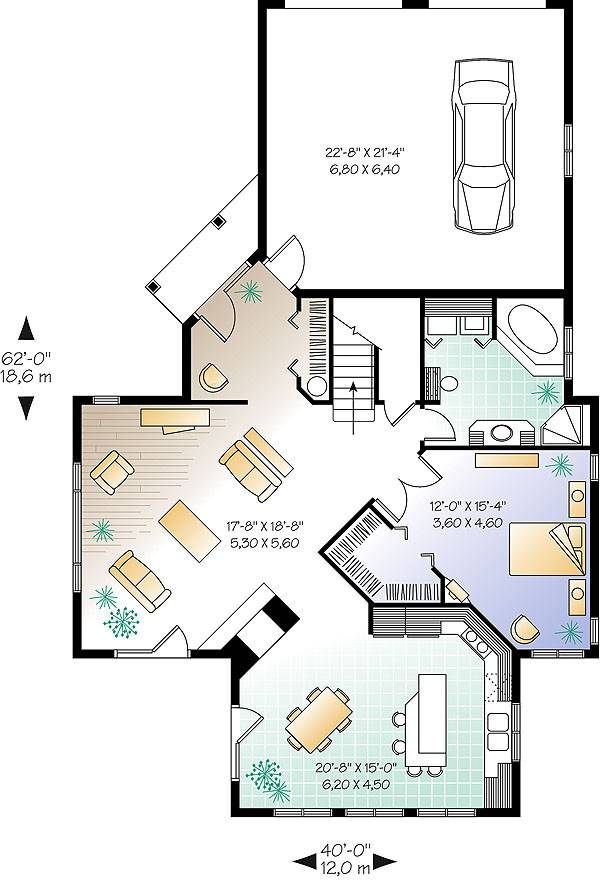 Main level floor plan of a two-story 3-bedroom Journey's Edge country home with living room, kitchen, dining area, primary bedroom, and a full bath with laundry closet.