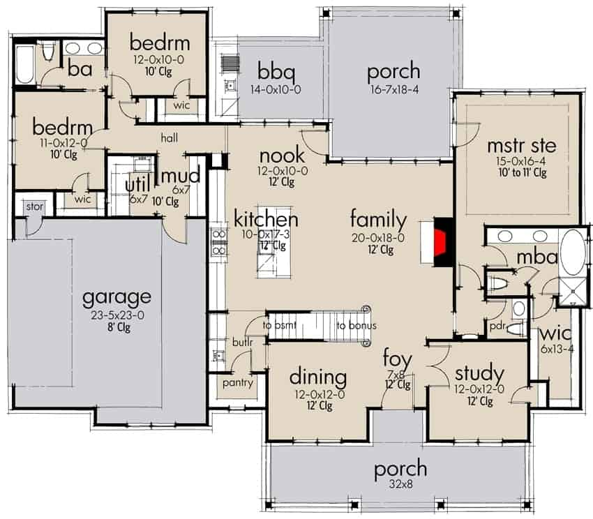 Main level floor plan of a two-story 3-bedroom modern farmhouse with front and rear porches, foyer, family room, dining area, kitchen, study, utility room, three bedrooms, and a double garage.