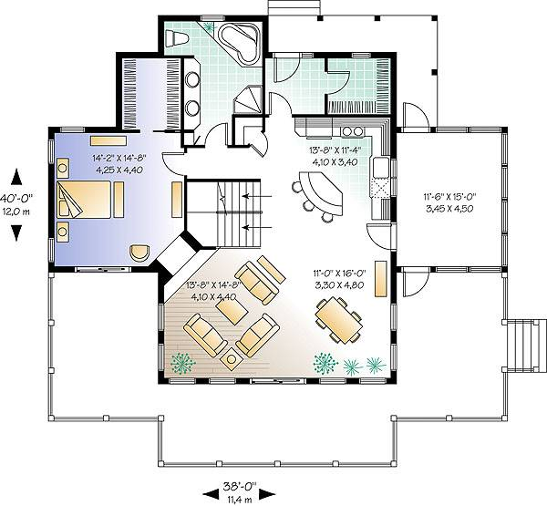 Main level floor plan of a two-story 3-bedroom The Pocono cottage with a wide porch, living room, dining area, kitchen, primary bedroom, and a full bathroom.
