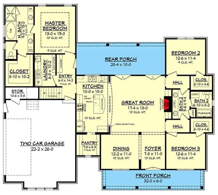 Main level floor plan of a two-story 4-bedroom modern farmhouse with front and rear porches, formal dining room, great room, kitchen, laundry, two-car garage, and three bedrooms.