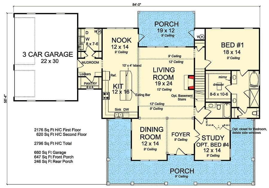 Main level floor plan of a two-story 4-bedroom expanded farmhouse with front and back porches, living room, formal dining room, kitchen with breakfast nook, two bedrooms, and a side-entry garage.