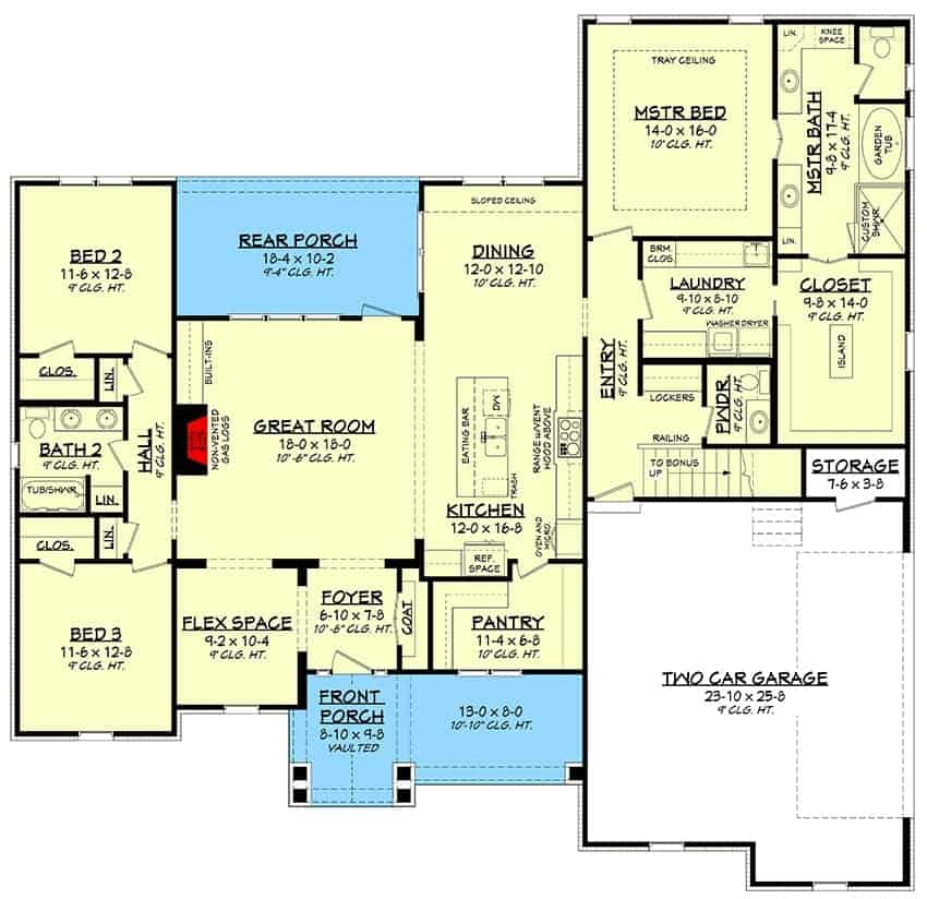 Main level floor plan of a two-story 4-bedroom New American home with front and rear porches, foyer, flex space, great room, kitchen, dining area, laundry room, three bedrooms, and a double garage with storage closet.