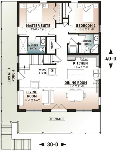 Main level floor plan of a two-story 4-bedroom The Laurentien rustic lake style home with a wraparound porch, living room, dining area, kitchen, and two bedrooms including the primary suite.