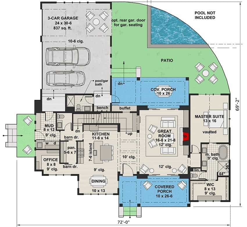 Main level floor plan of a two-story 5-bedroom modern farmhouse with great room, kitchen, dining area, office, mudroom, and plenty of outdoor spaces.