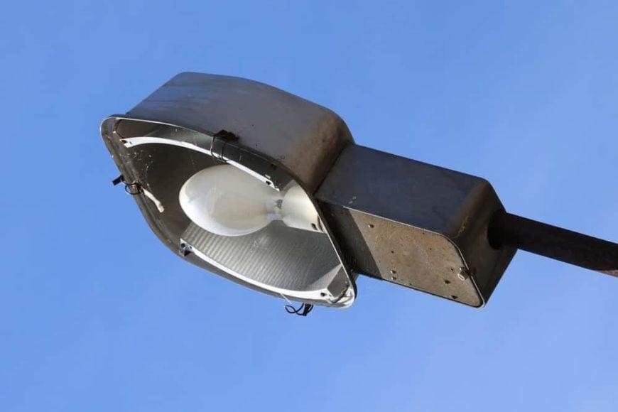 A close look at a mercury vapor light bulb used for street lighting.