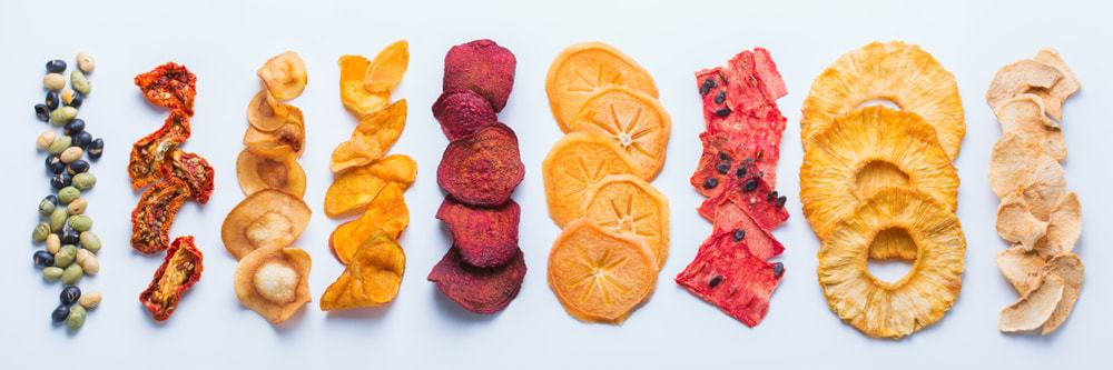 Dehydrated fruits and vegetables.
