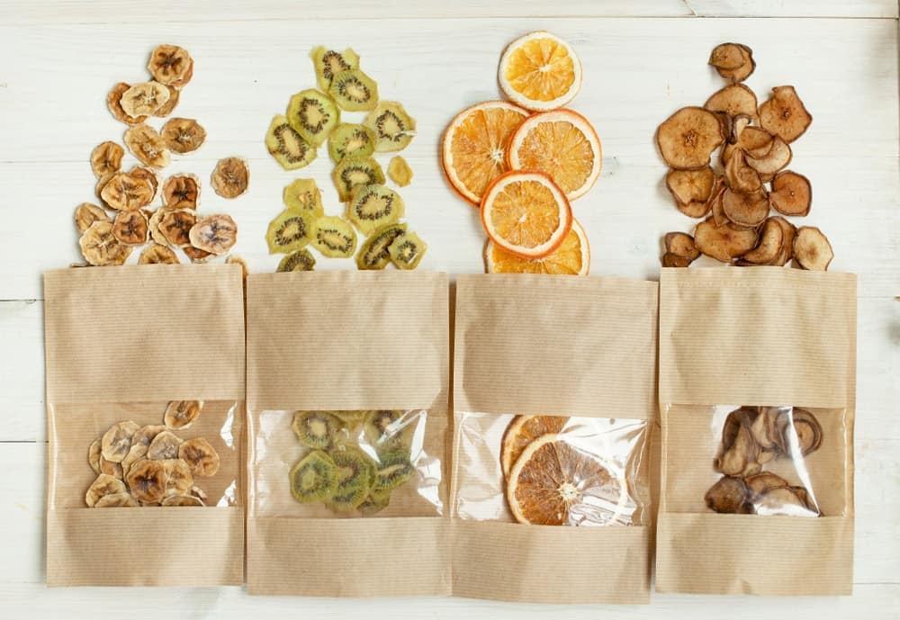 Various dried fruit chips.