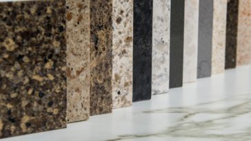 Various granite samples on display.