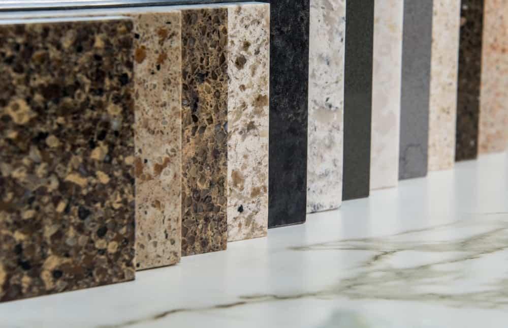 Various granite samples on display.