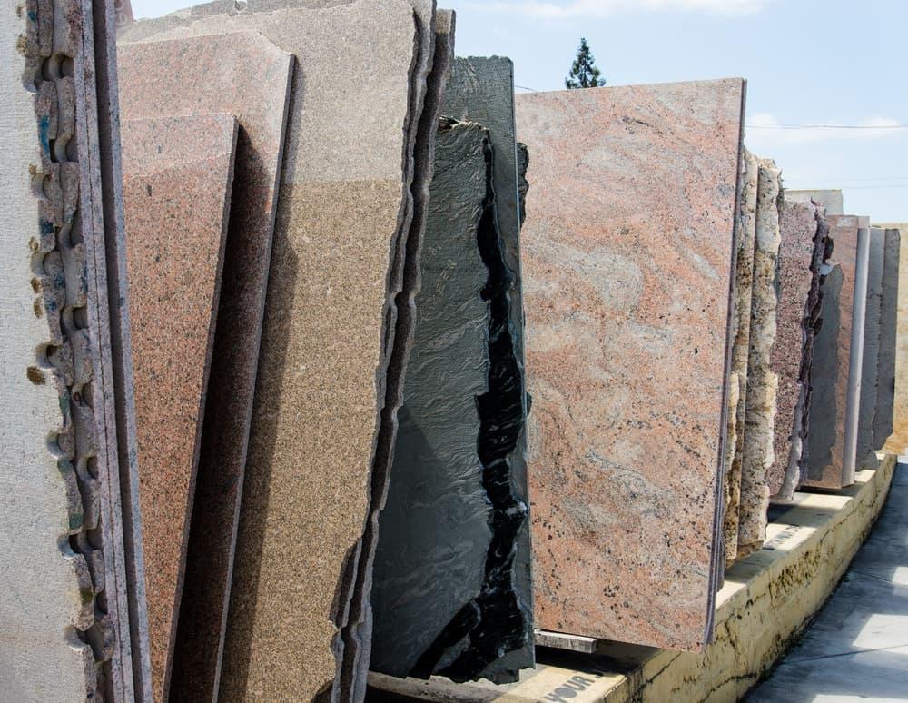 Various granite slabs on display.