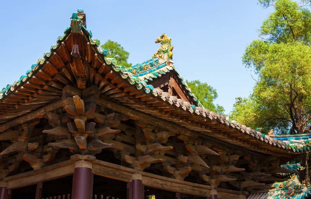 A close look at an old Chinese temple with tenon wood joints.
