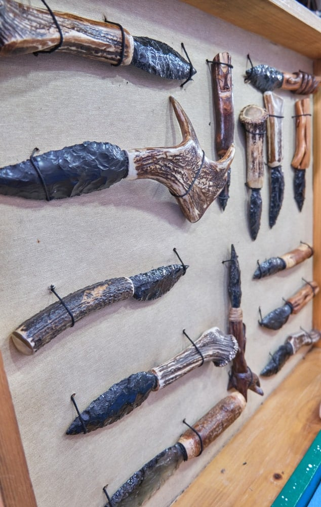 Ancient tools and weapons made from animal bones and horns and obsidian.