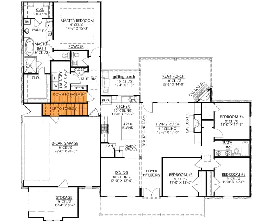 Main level floor plan showing the optional basement and room over garage stairs.