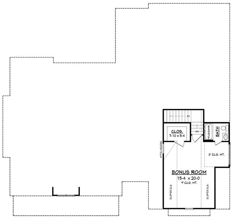 Bonus room floor plan with a full bath and a walk-in closet.