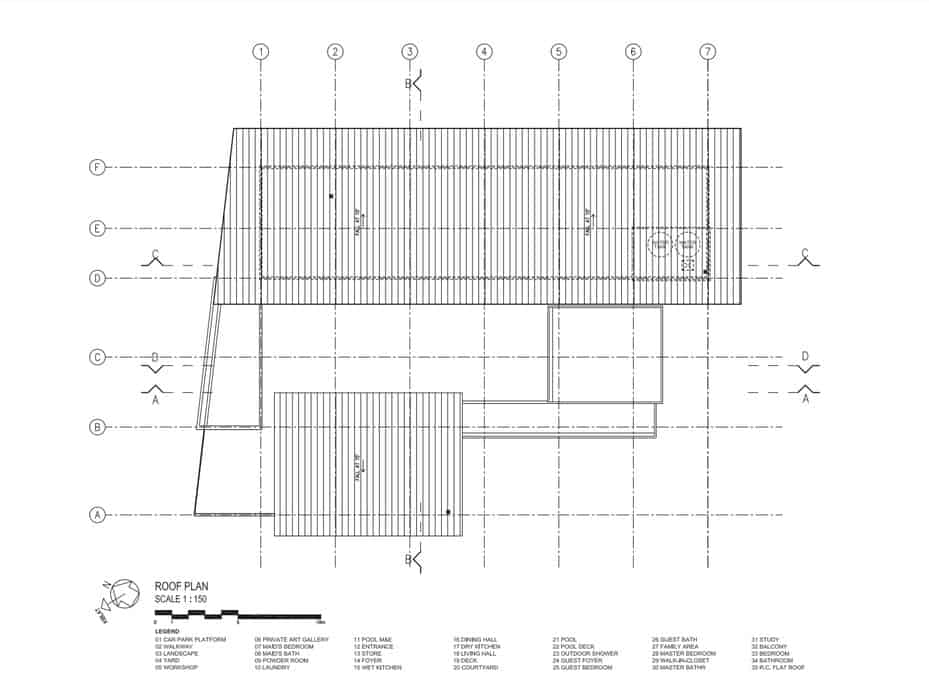 This is an illustration of the roof level floor plan of the house with the various sections of the house.