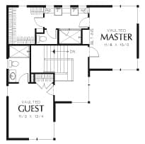 Second level floor plan with primary suite and a guest room.