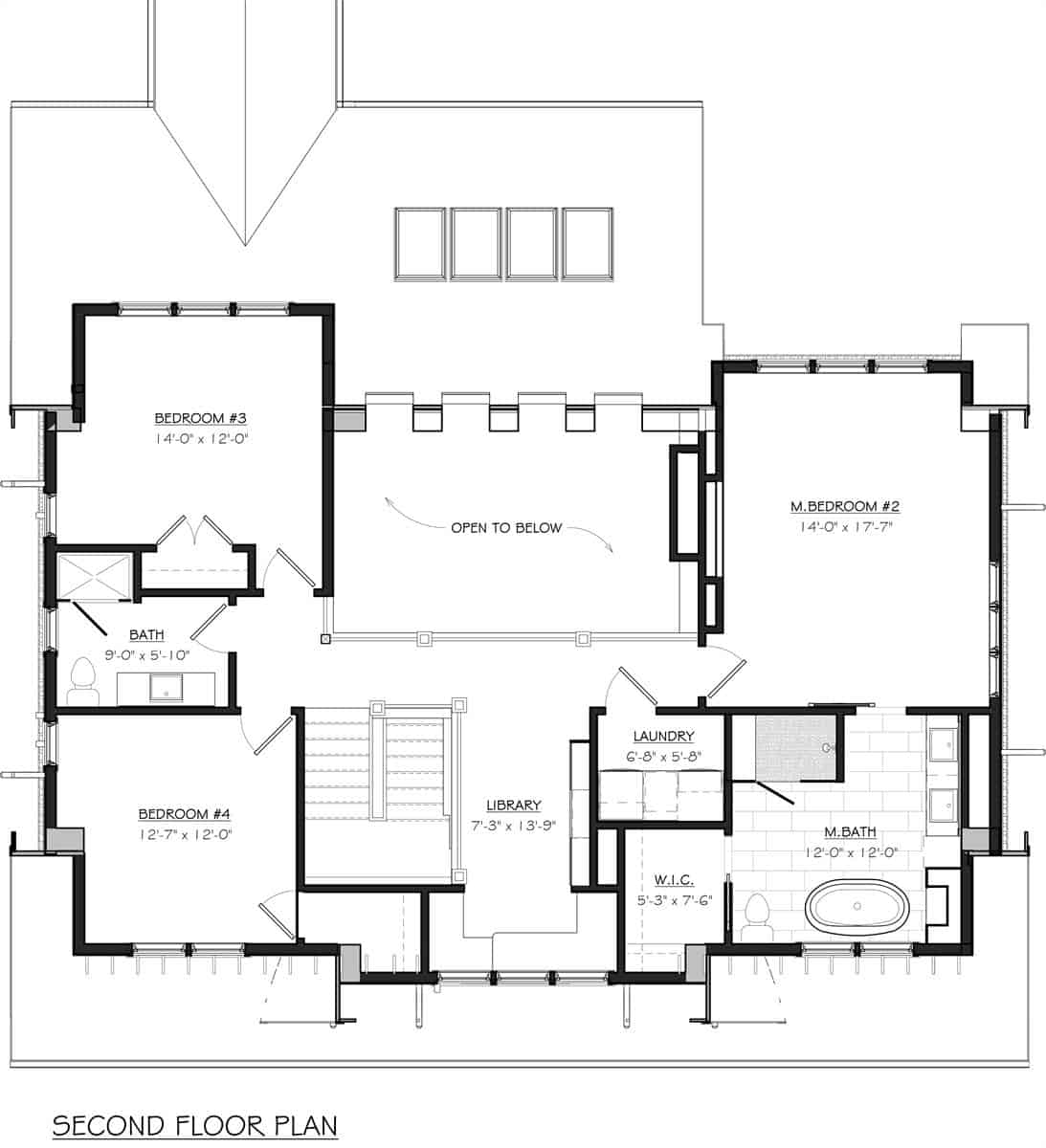 Second level floor plan with three bedrooms, a laundry room, and a library loft.