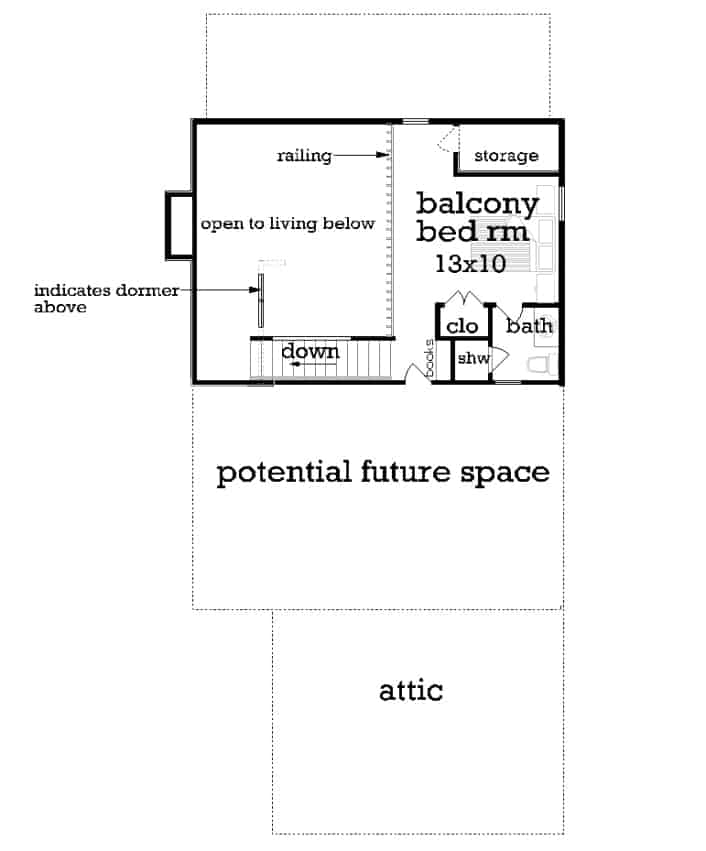 Upper level floor plan with balcony bedroom and potential future space.