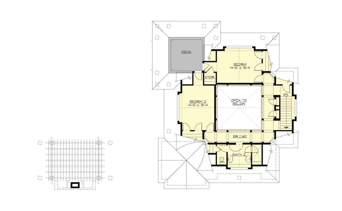 Second level floor plan with two bedrooms, a full bath, and a large deck.
