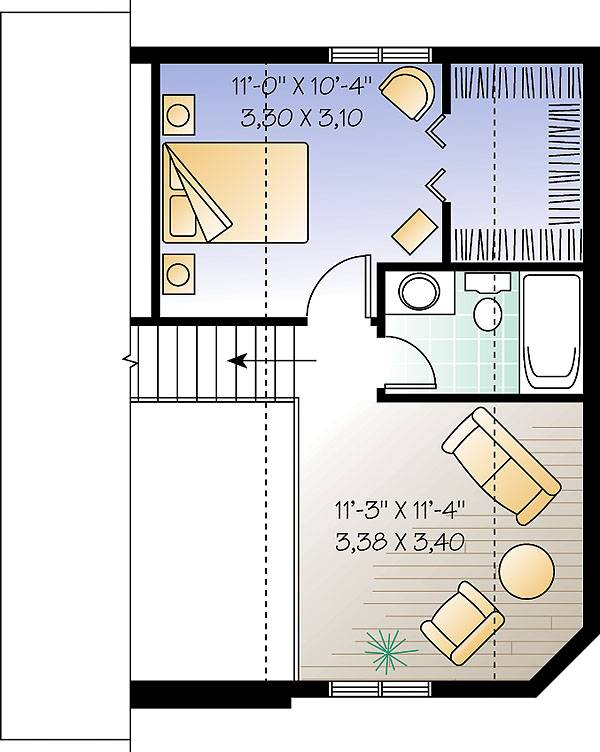 Second level floor plan with primary suite and a balcony loft.