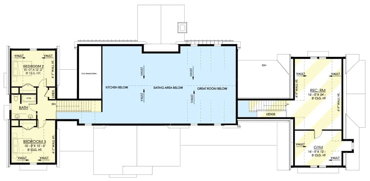 Second level floor plan with two bedrooms, a shared bath, gym, and a recreation room.
