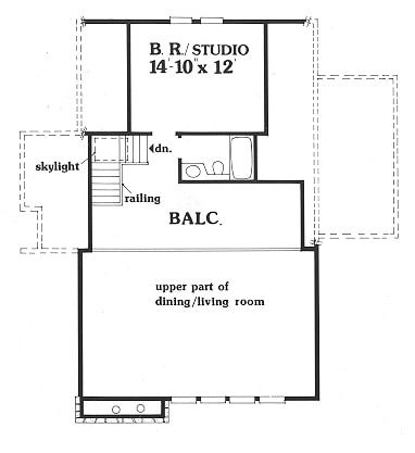 Second level floor plan with a studio and a balcony overlooking down the dining and living room.