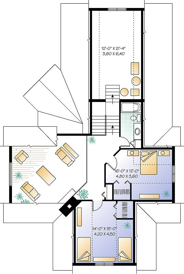 Second level floor plan with two bedrooms, a full bath, and a bonus room.