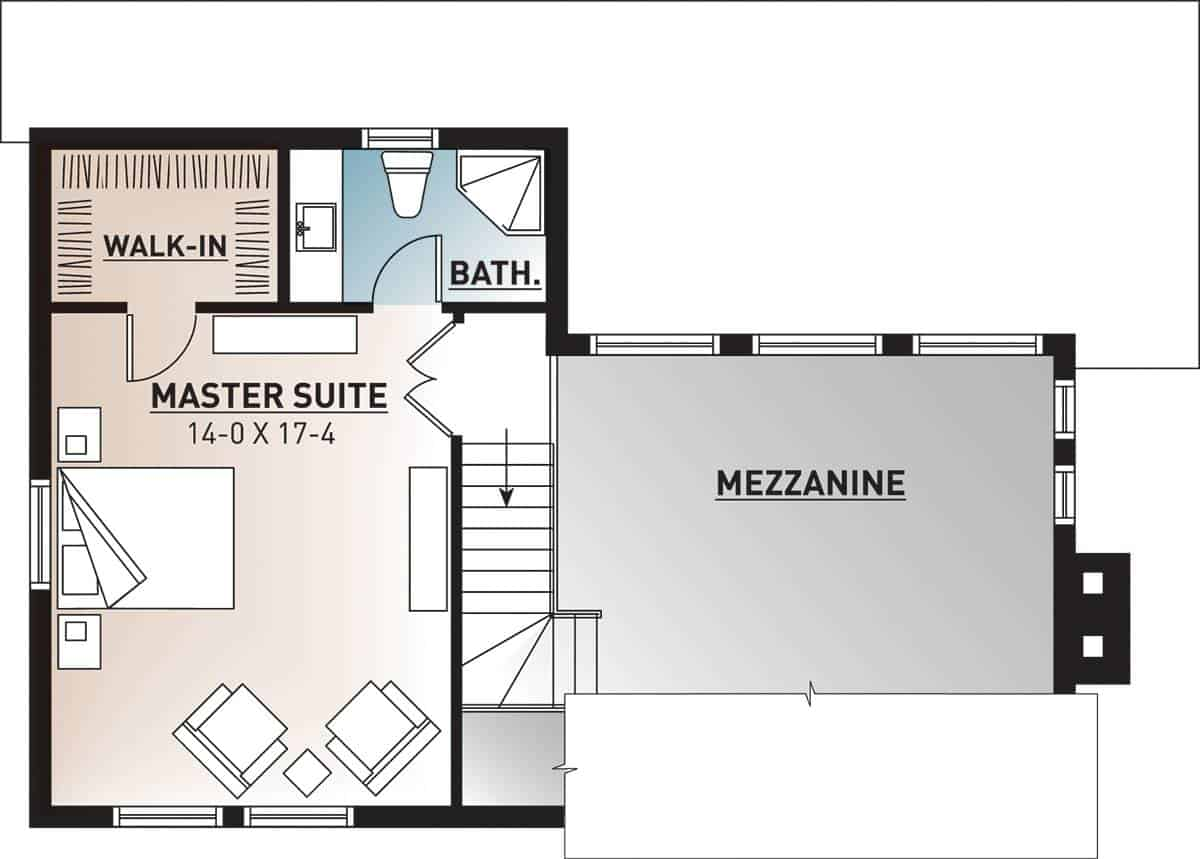 Second level floor plan with mezzanine and a primary bedroom with a private bath and walk-in closet.