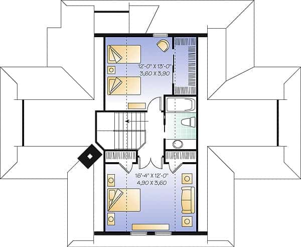 Second level floor plan with two bedrooms and a shared bathroom.
