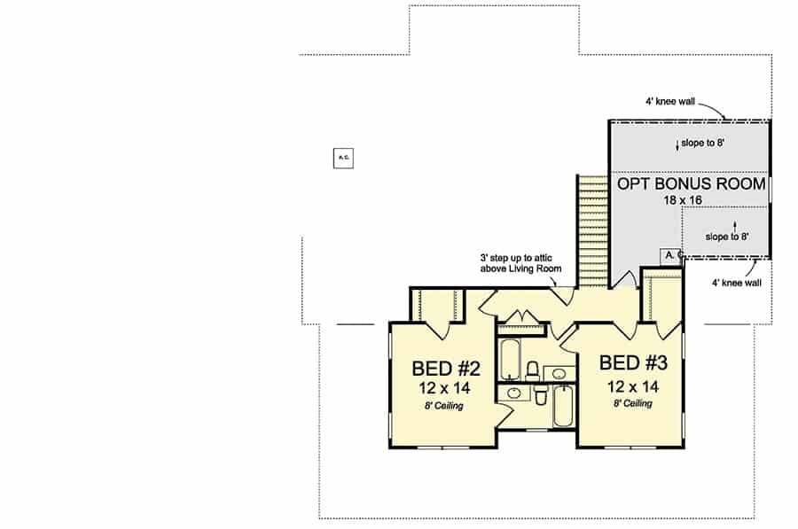 Second level floor plan with two beds and an optional bonus room.