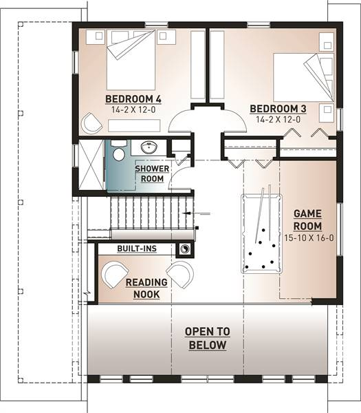 Second level floor plan with two bedrooms, a full bath, game room, and reading nook.