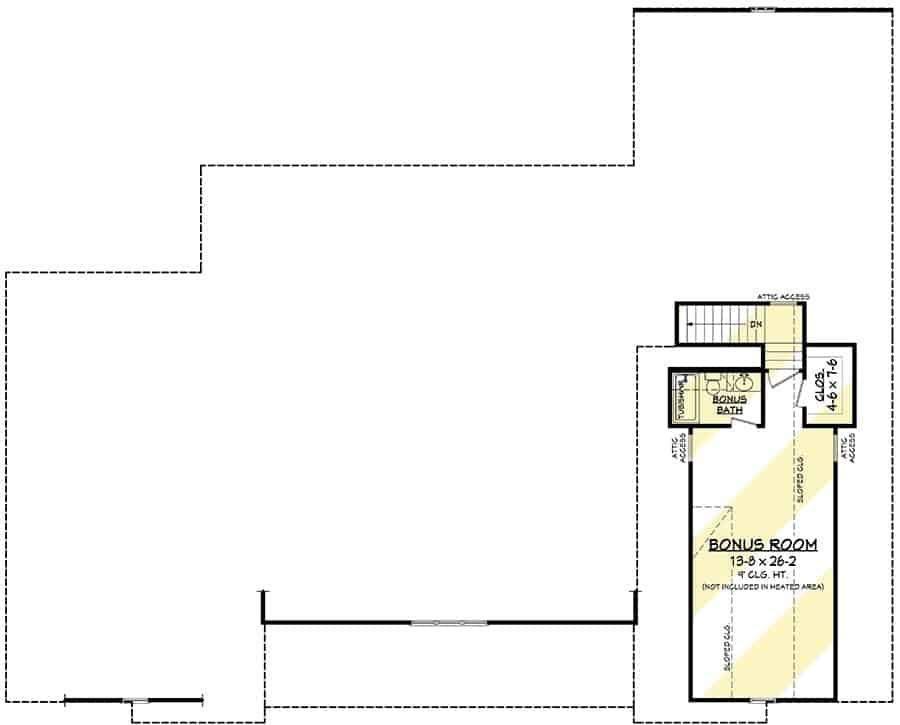 Bonus room floor plan with a full bathroom and a walk-in closet.