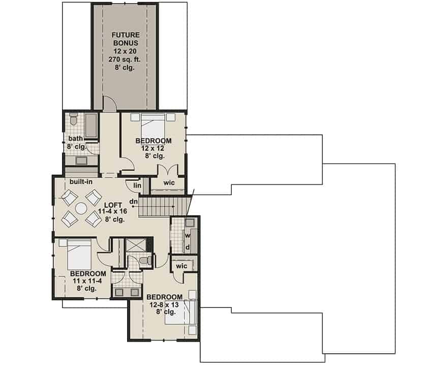 Second level floor plan with three bedrooms, a loft, and a future bonus room.
