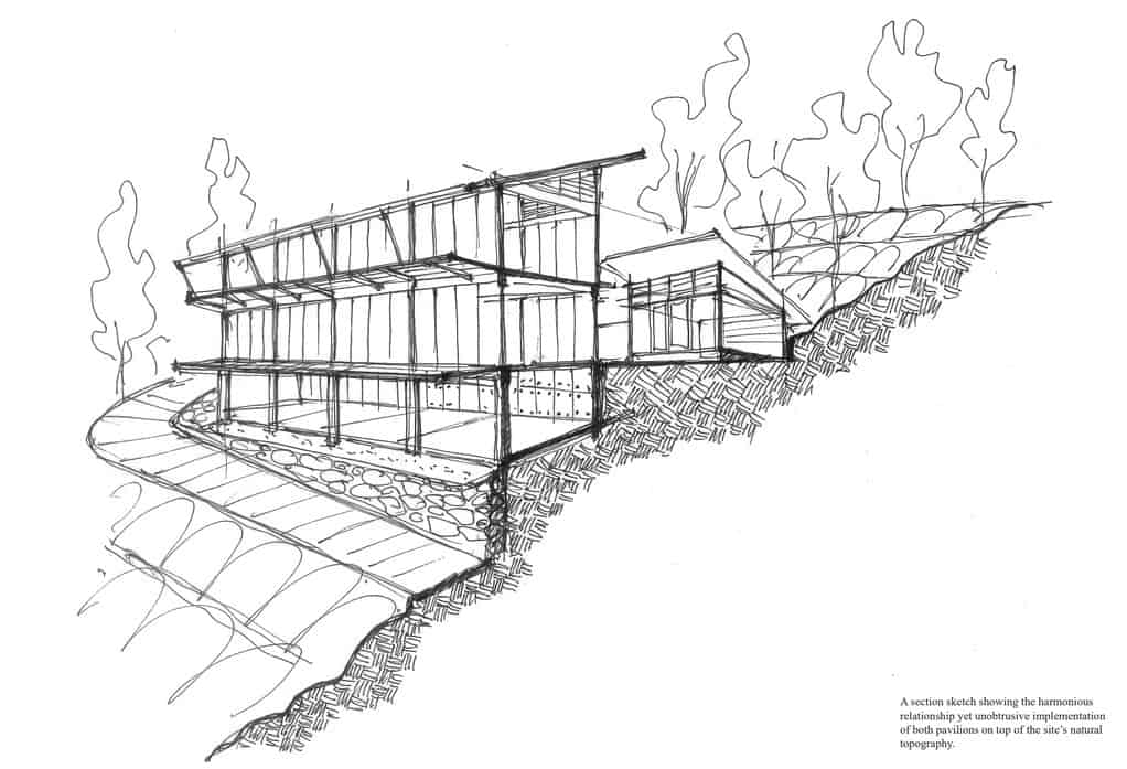 This is an illustration of the side of the house showcasing its elevation facing the cliff.